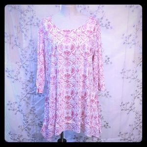 Casual Express 3/4 sleeve scoop neck tunic pink XL